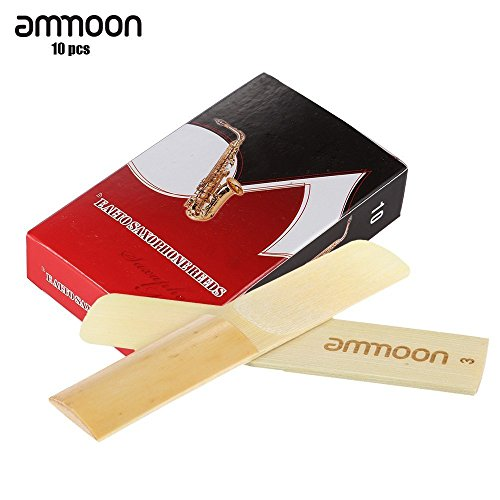 ammoon 10-pack Pieces Strength 3.0 Bamboo Reeds for Eb Alto Saxophone Sax Accessories