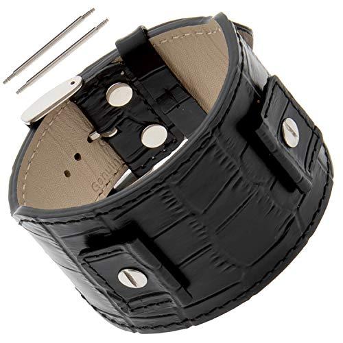 Gilden Gator-Grain Calfskin Leather Cuff Watch Band Bracelet FC30 (Fits Watch lugs 18-24 mm, - Cuff Bracelet Watch Band