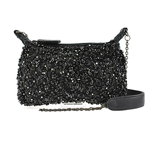 Mary Frances Highlights Mini Matt & Shiny Black Beaded Jeweled Baubled Encrusted Evening Handbag Shoulder Bag by Mary Frances