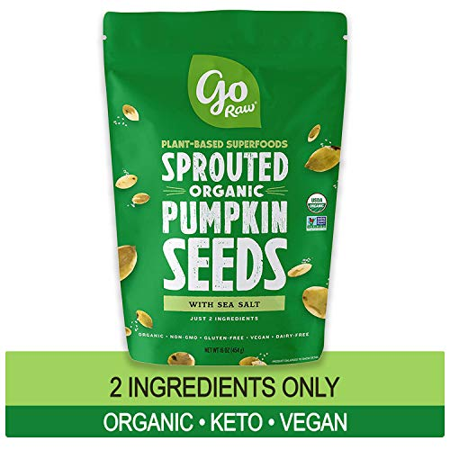 Go Raw Pumpkin Seeds with Sea Salt, Sprouted & Organic, 1 lb. Bag | Keto | Vegan | Gluten Free Snacks | Superfood