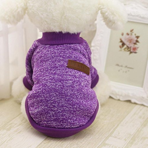 Product image of MALLOOM Pet Dog Puppy Classic Sweater Coat Tops Fleece Warm Winter Knitwear Clothes (S, Purple)