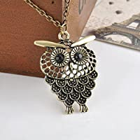 ERAWAN Vintage Cute Womens Bronze Owl Pendant Long Sweater Chain Necklace Jewelry Gift EW sakcharn (Bronze)