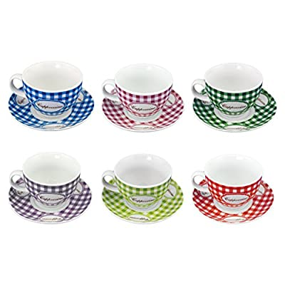Adorox Set of Ceramic Cappuccino Mugs & Saucers Assorted Color Gingham Pattern Vintage Design - 6 Cups and 6 Saucers