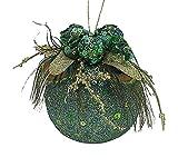 "Lavish Regal Peacock Feathered Mica Christmas Ball Ornament 3.5"""