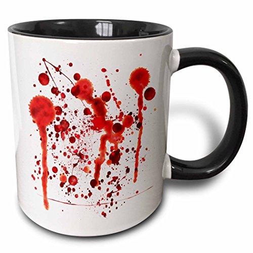 3dRose Rewards4life Gifts Halloween - Fake Blood Splatters - 11oz Two-Tone Black Mug (mug_128254_4) ()