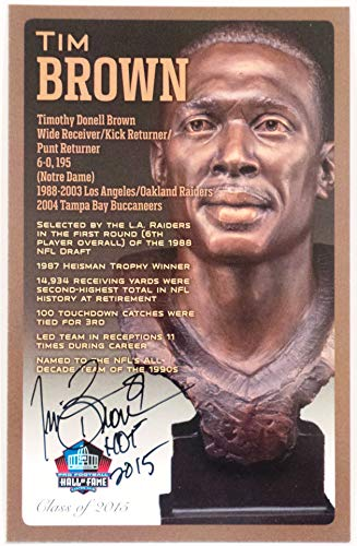 (PRO FOOTBALL HALL OF FAME Tim Brown NFL Bronze Bust Set Card Signed Autograph (Limited Edition #93 of 150))