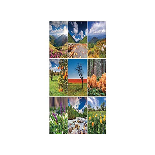 3D Decorative Film Privacy Window Film No Glue,Summer,Collage with Summer Scenery Majestic Mountains Waterfalls High Lands Environment,Multicolor,for Home&Office