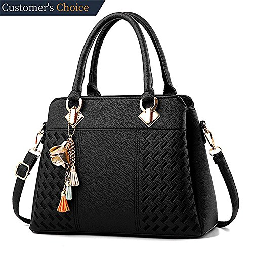 Womens Handbags and Purses Ladies Fashion Top Handle Satchel Tote PU Leather Shoulder Bags Crossbody Bag (Black) by Fordicher