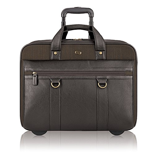 Solo New York Macdougal Rolling Laptop Bag. Rolling Briefcase for Women and Men. Fits Up to 17.3 Inch Laptop - Espresso Dual Access Rolling Computer Case