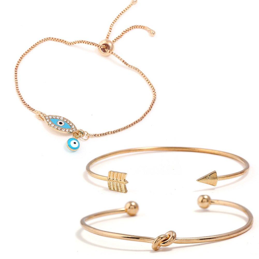 ISAACSONG.DESIGN Bohemian Stackable Turquoise Bead Stone Evil Eye, Love Knot Charm Bolo Chain Link Bangle Bracelet Set for Women (Evil eye & Love knot bangle bracelet set)