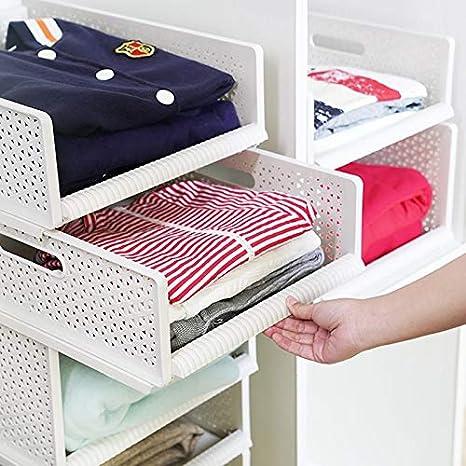 apilable 1 Shelf L HyFanStr 1 Estante, 44 x 33 x 12 cm estantes con Asas Ideal para Almacenamiento de Armario Organizador de cl/óset Resistente y port/átil