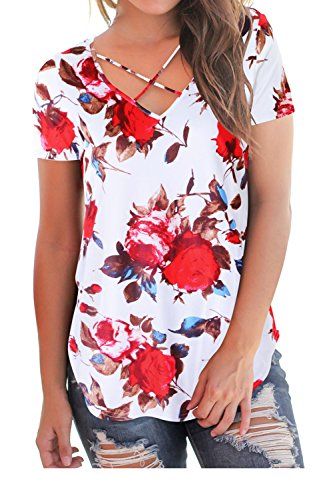 Women T Shirts Short Sleeve Strappy Summer Tops V Neck Floral Tees Plus Size