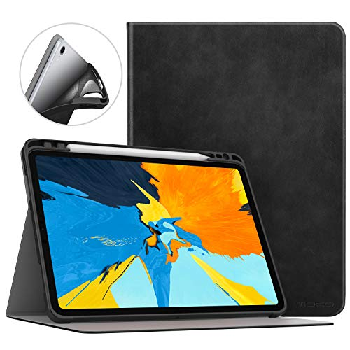 MoKo Case Fit iPad Pro 11 2018 with Apple Pencil Holder [Support Magnetically Attach Charging/Pairing Feature] Light Weight Premium Shock Proof Stand Folio Cover with Auto Wake/Sleep - Black