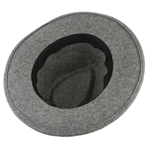 da137c9840558 Gemvie Women s Wool Felt Trible Print Band Warm Fedora Trilby Porkpie Hat  Gray at Amazon Women s Clothing store