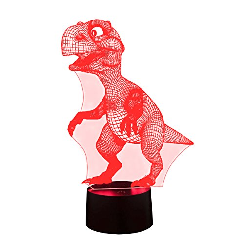 3D Illusion Night Lamp,SUNINESS 7 Colors Change Touch Control LED Desk Table Night Light with Multicolored USB Powered for Kids Family Home Decoration Valentine's Day Best Gift(Dinosaur)