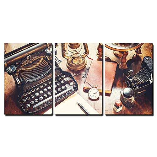 wall26 – 3 Piece Canvas Wall Art – Vintage Items, Camera, Pen, Globe, Clock, Typewriter on the Old Desk – Modern Home Decor Stretched and Framed Ready to Hang – 24″x36″x3 Panels For Sale