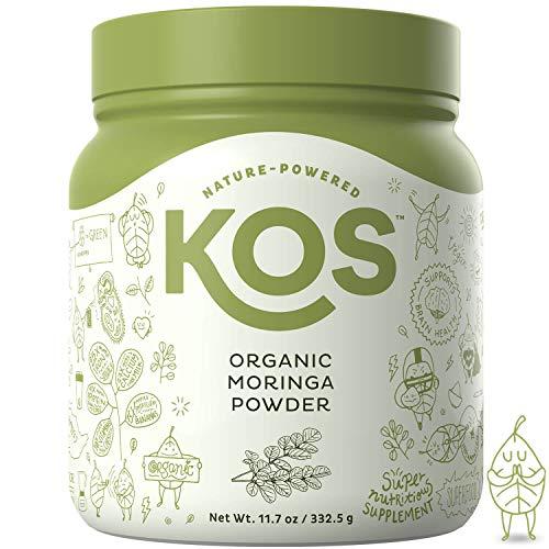 KOS Organic Moringa Powder - 100% Pure, Non-GMO Organic Moringa Leaf Powder USDA Vegan Plant Based Ingredient, 332.5g (11.7oz)