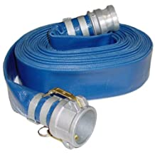 """Abbott Rubber PVC Discharge Hose Assembly, Blue, 2"""" Male X Female Cam And Groove, 65 psi Max Pressure, 50' Length, 2"""" ID"""