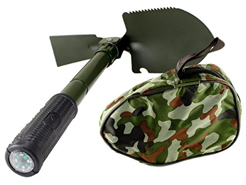 5 in 1 Folding Camp Shovel, Hoe, Compass, Saw and Bottle Opener with Free Compact Carrying Case