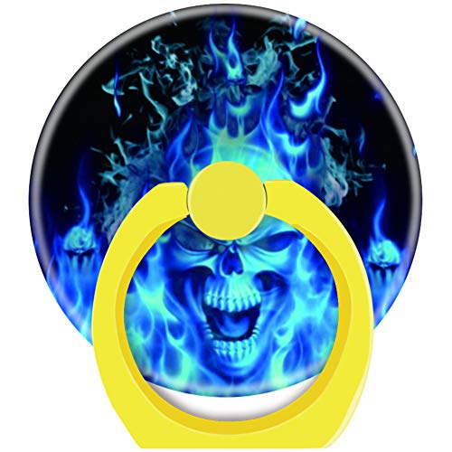 Blackpink 360 Degree Rotation of Cell Phone Socket Grip Holder Finger Pop Grip Stand with Car Mount Hooks Works for All Smartphones and Tablets Blue Flames Skull Head Yellow -  blk1943