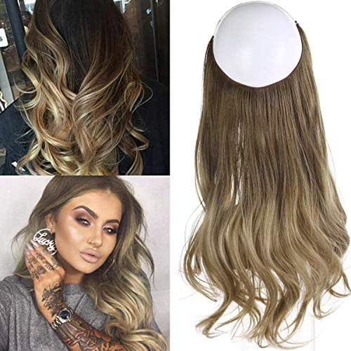 Short Ombre Hair Extensions Halo Wire Sercet Crown Synthetic Wavy Curly Hairpieces For Women Invisible Auburn Burgundy Heat Resistant Fiber 14