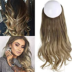 """Ombre Hair Extension Bayalage Highlight Ash Blonde Caramel 14""""Long Natural Wavy Halo Flip in Natural Synthetic Hairpiece Hidden Wire Crown Headband Hair Pieces For Women Heat Resistant Fiber M04# 8T16"""