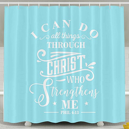 BESTSC Bath Curtain I Can Do All Things Through Christ Who Strengthens Me. SKY BLUE Shower Curtains - Waterproof Polyester Fabric Bathroom Decor Set With Hooks - 60'' X 72'' by BESTSC