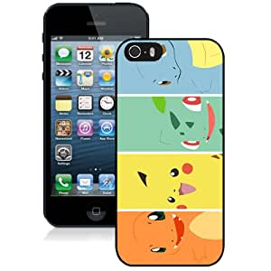 Fashion iPhone 5S Pokemon Popular Cute and Funny Pikachu 20 Black Screen Cover Case Luxury and Genuine Design