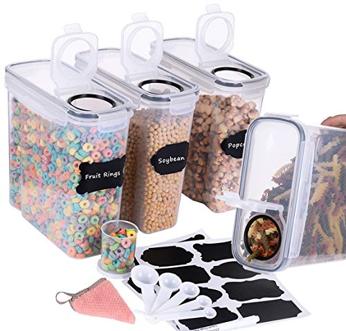 Homrealm Cereal Container Storage Set 4pcs,Airtight Food Storage Containers Upgraded Cereal dispenser,BPA Free Pantry Storage Containers for Cereal Rice Cookies Flour Sugar Coffee Pet food&More(Black)