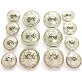 """MetalBlazerButtons.com Brand - Silver Phoenix - Die-Cast Metal [Polished Silver Finish] (14-Button, Double Breasted) Metal Blazer Button Set - 7/8"""" & 5/8"""" Buttons"""