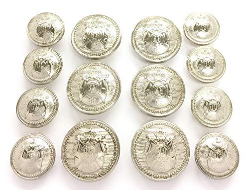 MetalBlazerButtons.com Brand - Silver Phoenix - Die-Cast Metal [Polished Silver Finish] (14-Button, Double Breasted) Metal Blazer Button Set - 7/8