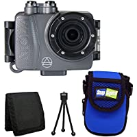 Intova DUB Waterproof Photo & Video Action Camera (Graphite) + Intova Snap Sights Compact Neoprene Case SB21 + Tri-fold Memory Card Wallet + Table Top Tripod + Deluxe Accessory Bundle