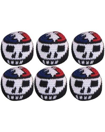 Set of 6 Hacky Sacks - Skull & Lightning