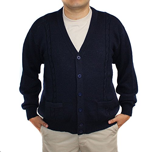 Jersey V-neck Cardigan - ALPACA CARDIGAN JERSEY BRIAD V neck buttons and Pockets made in PERU NAVY BLUE M