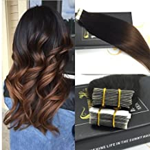 Sunny 18inch Two Tone Color Natural Black to Chocolate Brown Ombre Colored Tape in Hair Extensions Seamless Remy Hair Extensions 10pc 25G Per Package