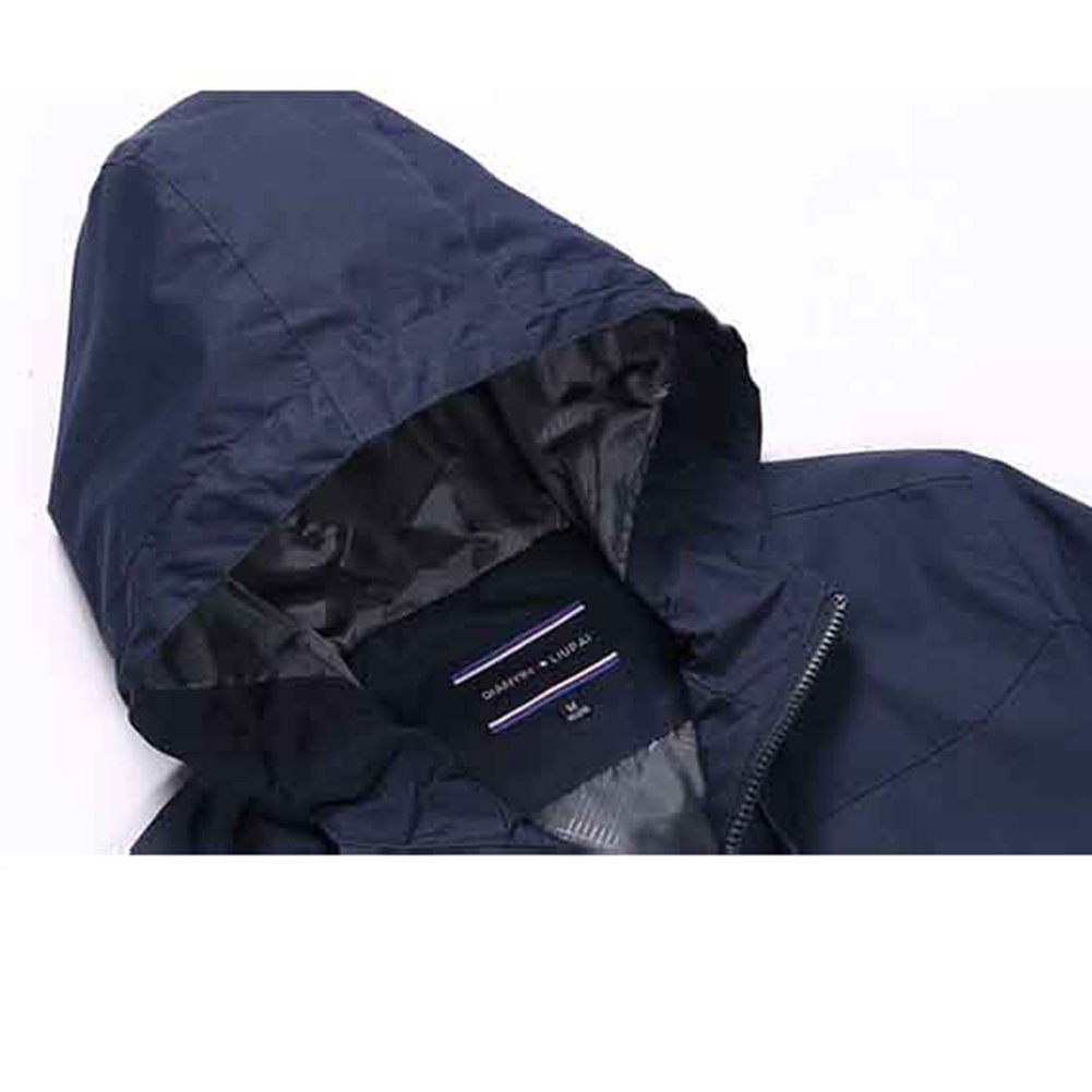 NIAN Sports Jacket Men Spring and Autumn Mens Thin Jacket Casual Hooded Outdoor Color : Dark Blue, Size : L