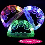 Yingealy Great Fun Gift Flashing Half Moon Tambourine Color LED Light Up Bells Rattles Toy for Children Kids