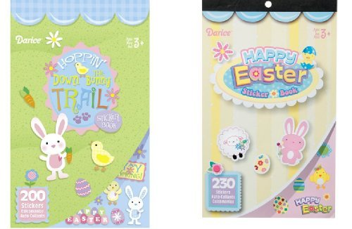 - 2 BOOKS of EASTER Mini Stickers 430 total - SPRING Crafts CHICKS Bunnies -BASKET Filler TOY