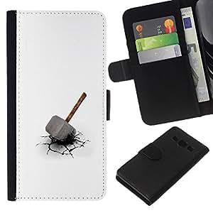 // PHONE CASE GIFT // Moda Estuche Funda de Cuero Billetera Tarjeta de crédito dinero bolsa Cubierta de proteccion Caso Samsung Galaxy A3 / Thor's Hammer /