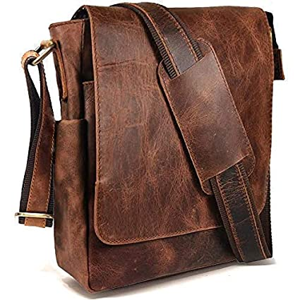 Vintage Look Leather Tablet Man Bag, Sling Bag, Crossbody Messenger Satchel (2 Rugged Tan)