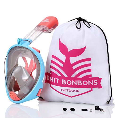 Knit BonBons Outdoor Snorkel Mask 180° Panoramic Full Face View with camera mount for Kids Teen Adult Women Men, Easier Breath with Anti-Fog Anti-Leak Dry Dive Swim