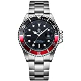Mens Luxury Watches Rotatable Bezel Sapphire Glass Luminous Hand Quartz Silver Tone Stainless Steel Watch (Black Red)