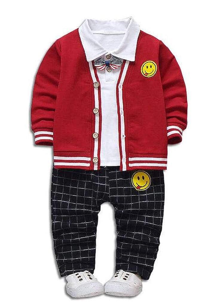 HLWLWOLFOYC Baby Junge Casual 3 Stück Kleidung Set Strickjacke + Weiß Langarmshirt + Plaid Lange Hose für Höhe ca. 65-105cm HLWLWOLFOYC_BTL0114