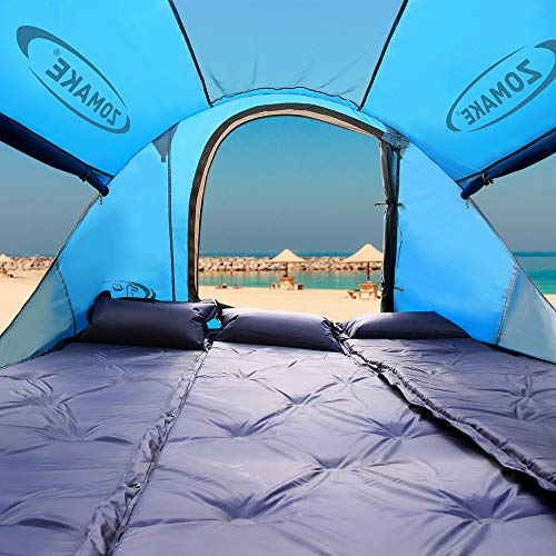 ZOMAKE Pop Up Tent 3 4 Person, Beach Tent Sun Shelter for Baby with UV Protection – Automatic and Instant Setup Tent for Family (Light Blue)