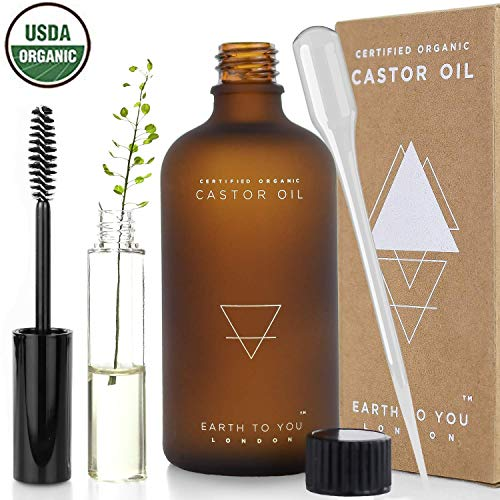 Organic Castor Oil (3.5oz) USDA Certified, Unrefined, 100% Pure, Cold Pressed, Vegan, Treatment for Hair Growth, Eyelashes, Moisturizer for Face, Skin with Hygienic Applicator Set by Earth To You