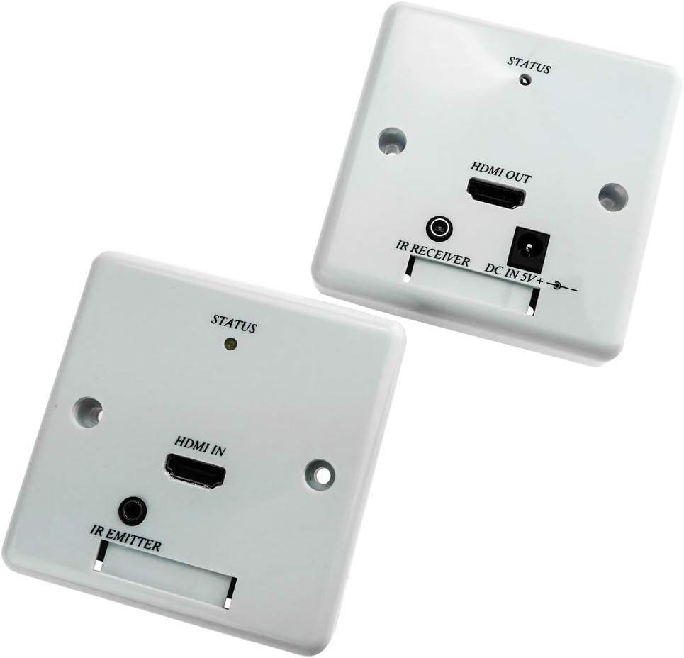 BeMatik - Caja de Pared canaleta 80x80 Extensor UTP Cat.5 (HDMI+IR): Amazon.es: Informática