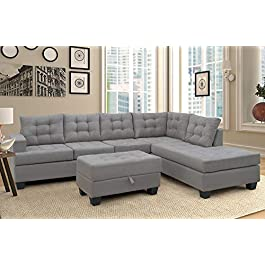 Merax Sofa 3-Piece Sectional Sofa with Chaise and ...