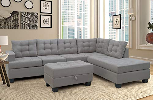 Merax Sectional Sofa with Chaise and Ottoman 3-Piece Sofa for Living Room Furniture,(Gray) (For Velvet Gray Sale Sofa)