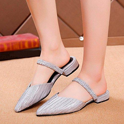 Skidding Silver Flat hunpta Toe Women Pleated Pointed Vintage Heel Slipper Anti Sandals xtwwYnPqS