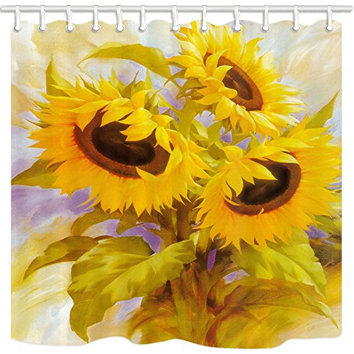 NYMB Fresh Home Decor Watercolor Sunflower Shower Curtain in Bath 69X70 inches Mildew Resistant Polyester Fabric Bathroom Fantastic Decorations Bath Curtains Hooks Included (Multi23)